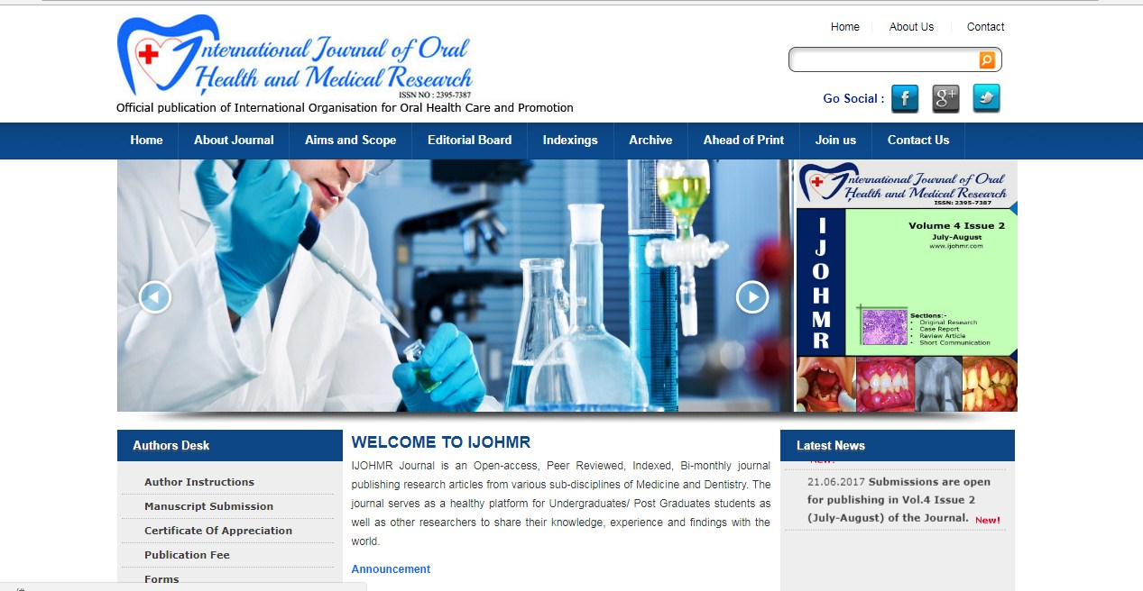 International Journal Oral Health Medical Research- Aditya Hosting